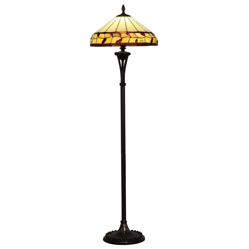 65.5 in Port Jackson 2-Light Antique Bronze Floor Lamp with Tiffany