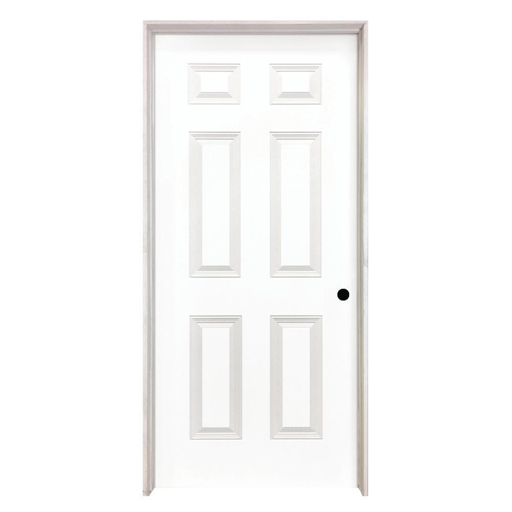 6 Panel Textured Hollow Core Primed White Composite Single Prehung Interior Door