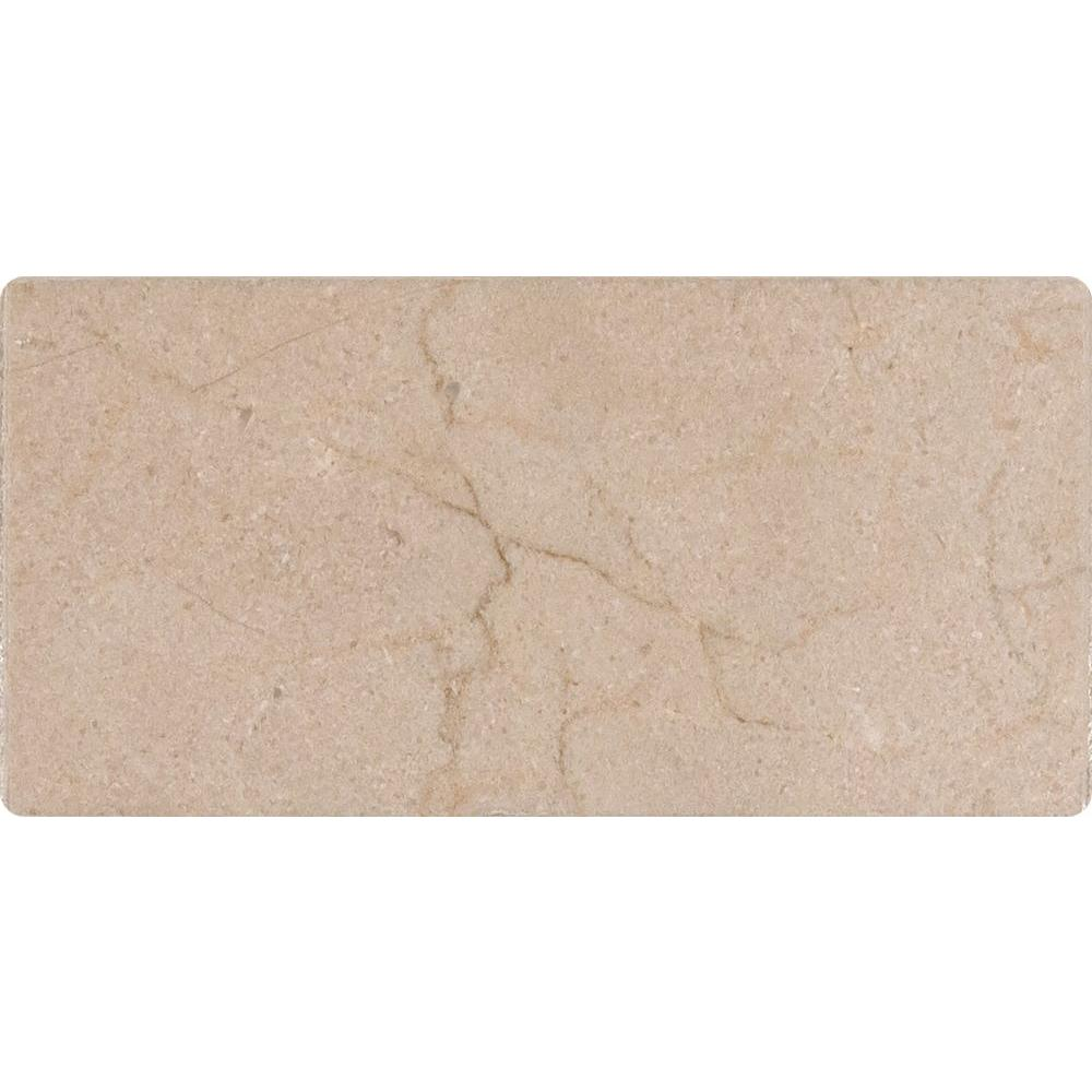 MSI Crema Marfil 3 in. x 6 in. Honed/Beveled Marble Floor and Wall Tile (1 sq. ft. / case)