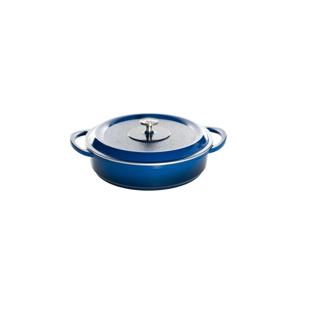 Nordic Ware Pro Cast Traditions Enameled Cast 4.5 qt./12 in. Braiser Pan with Cover Midnight Blue