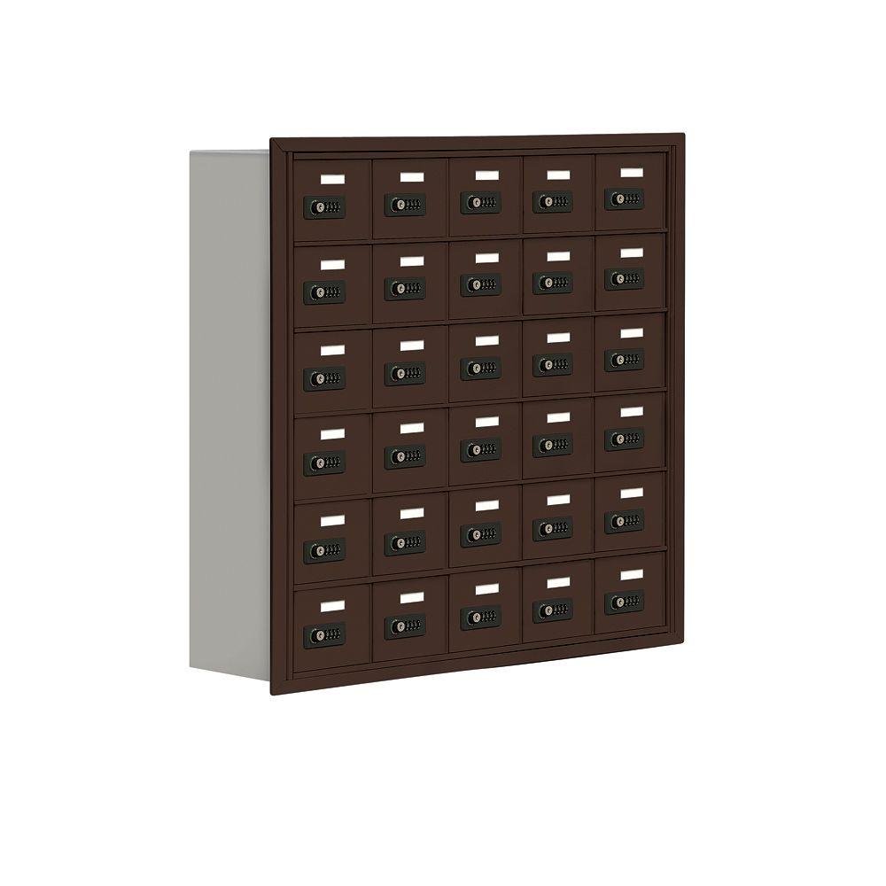 Salsbury Industries 19000 Series 37 in. W x 36.5 in. H x 8.75 in. D 30 A Doors R-Mount Resettable Locks Cell Phone Locker in Bronze