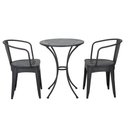Lourdes Black Sand 3-Piece Metal Round Outdoor Bistro Set