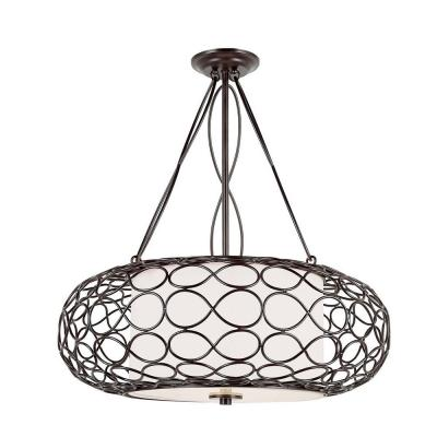3-Light Brown Pendant with White Frosted Shade