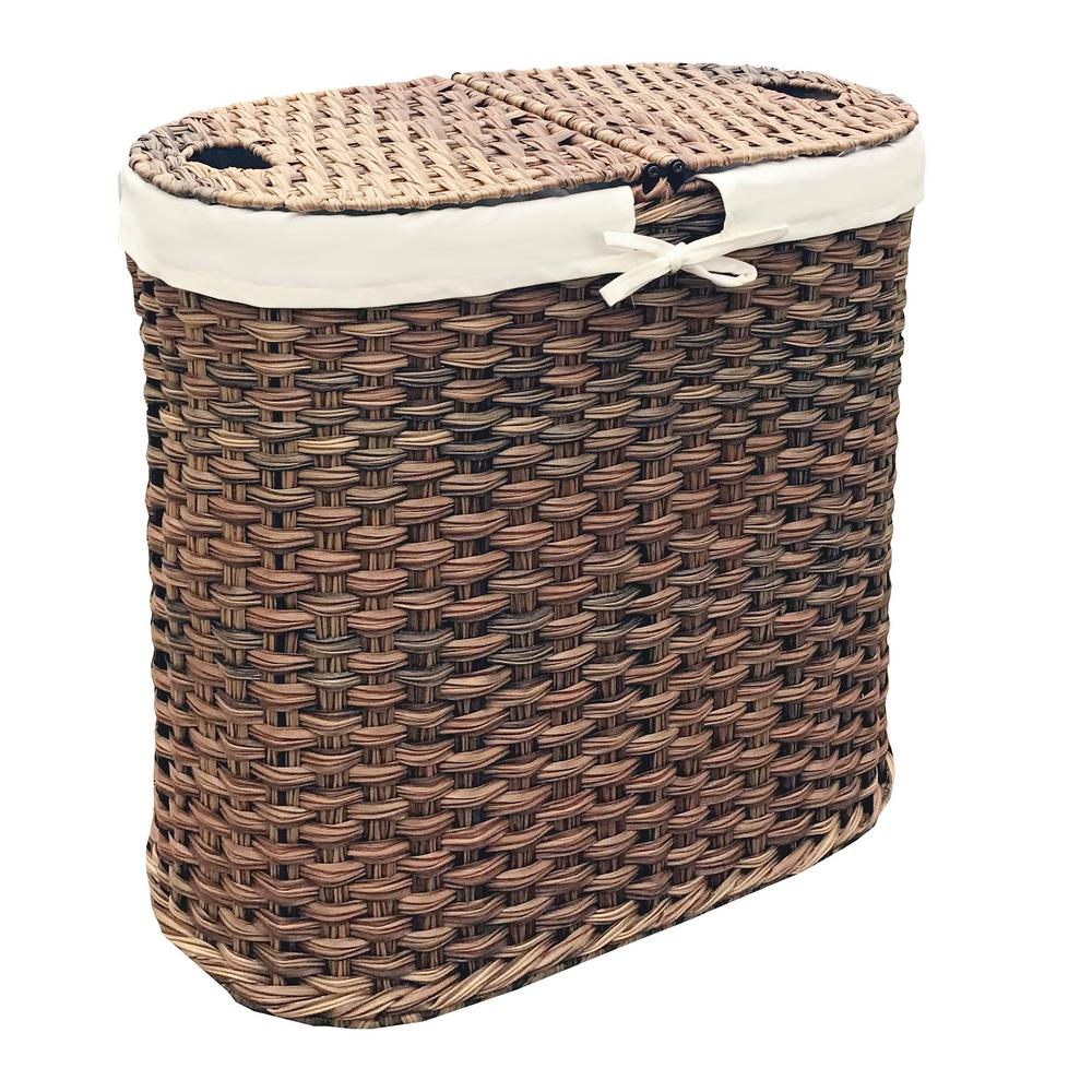 Mocha Polyethylene Hand-Woven Oval Double Laundry Hamper with Liner