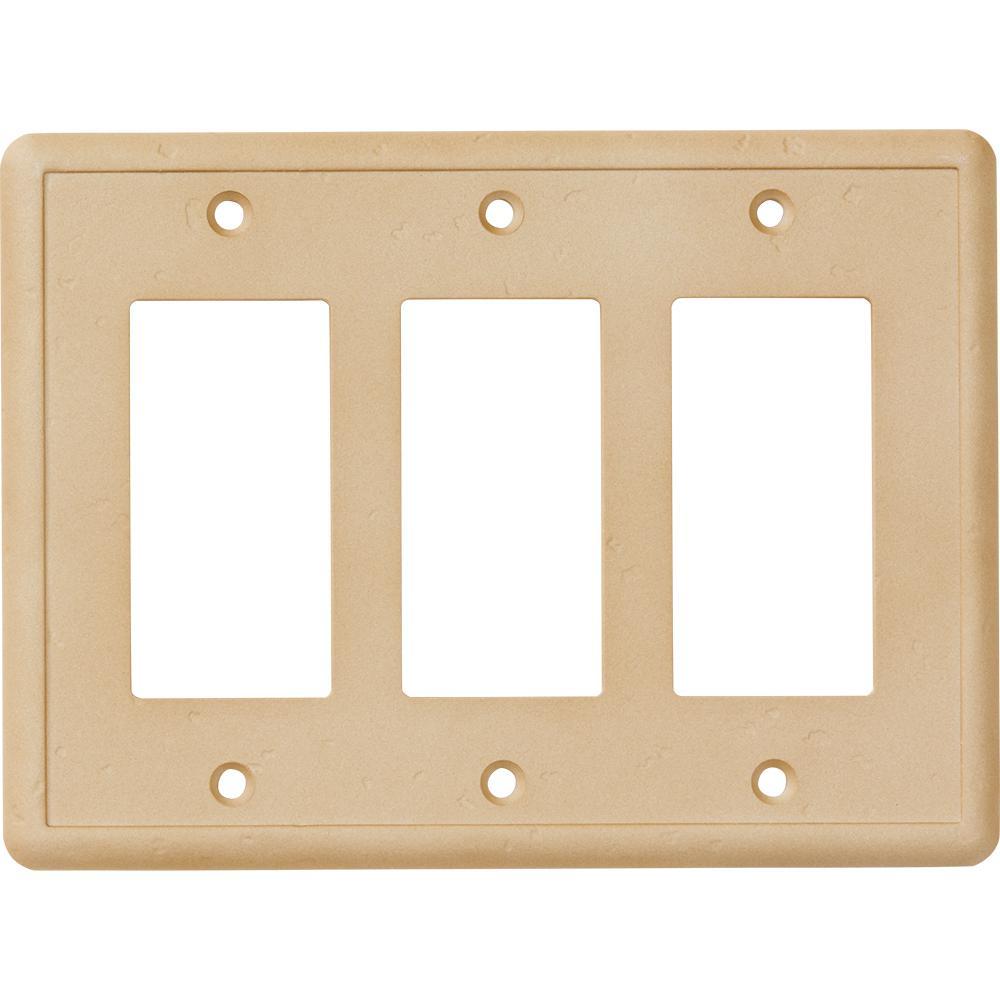 hampton bay 3gang gfci wall plate travertine