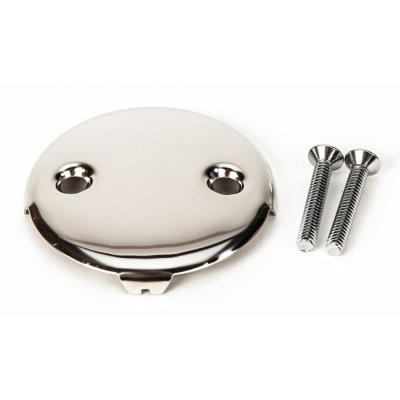 Universal Bath Tub/Bathtub Drain Double/Two (2) Hole Overflow Face Plate with Matching Screw in Chrome