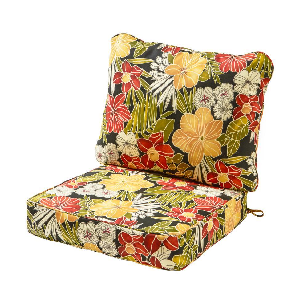 Aloha Black 2-Piece Deep Seating Outdoor Lounge Chair Cushion Set