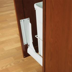 Knape & Vogt 18 inch H x 4 inch W x 23 inch D Door-Mount Trash Can Bracket Kit in White by Knape & Vogt