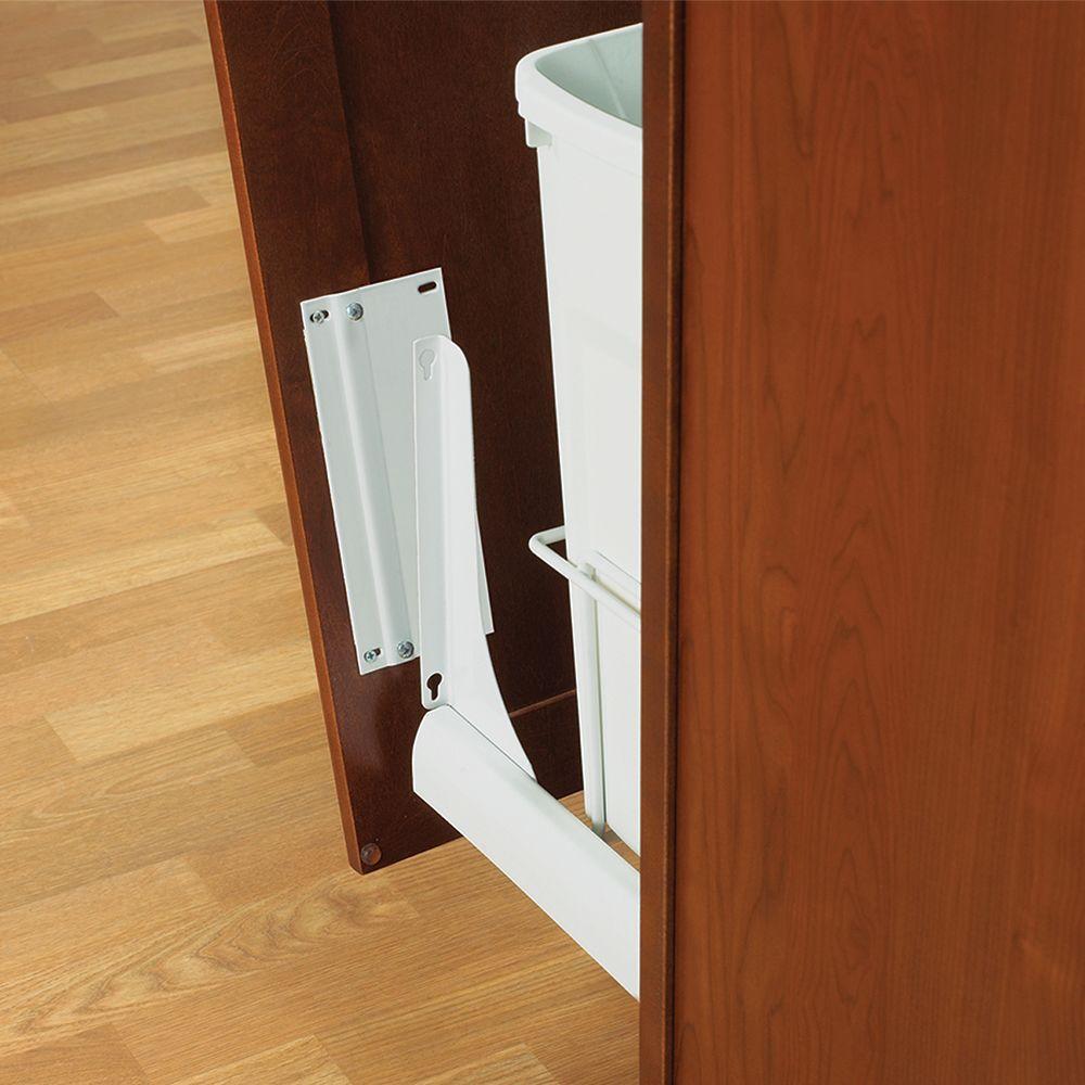 18 in. H x 4 in. W x 23 in. D Door-Mount Trash Can Bracket Kit in White