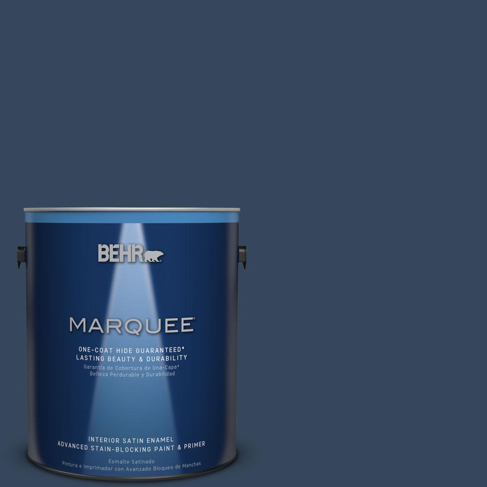 behr marquee 1 gal mq5 54 compass blue satin enamel interior paint and primer in one 745301. Black Bedroom Furniture Sets. Home Design Ideas