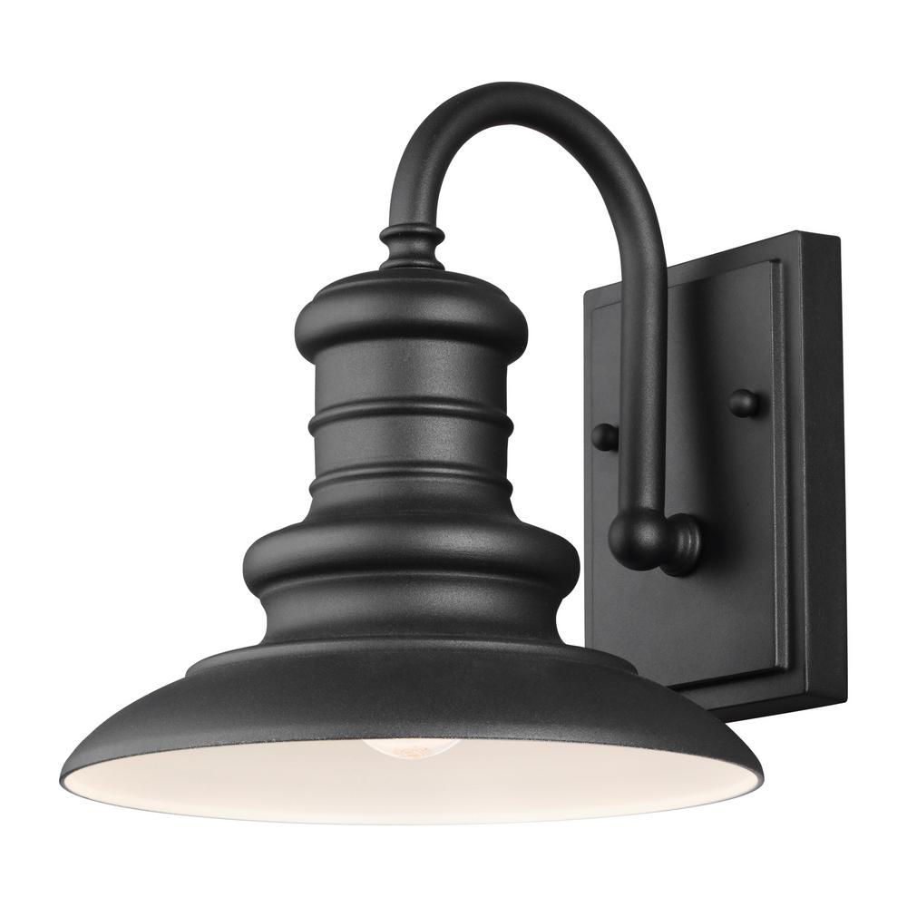 Hampton Bay Black Barn Light Outdoor Wall Mount Sconce