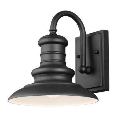 Redding Station 9 in. 1-Light Textured Black Outdoor Wall Mount Sconce