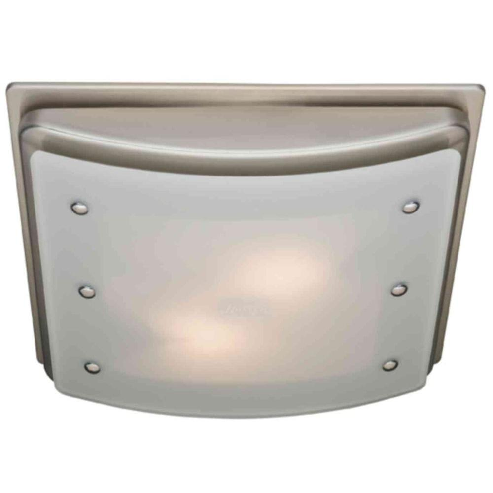 Hunter Ellipse Decorative Brushed Nickel Trim 100 CFM Ceiling Exhaust Bath Fan with Bent Frosted Glass and Accents