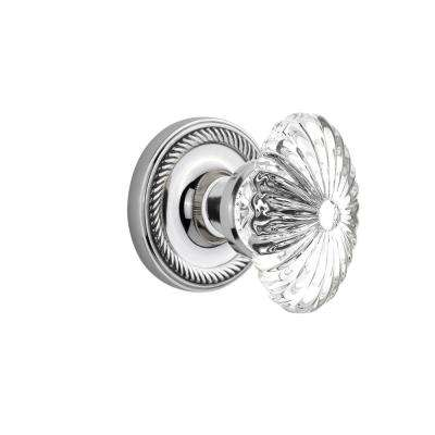 Rope Rosette Single Dummy Oval Fluted Crystal Glass Door Knob In Bright  Chrome