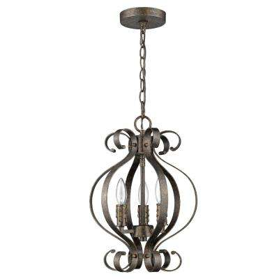 Lydia 3-Light Russet Chandelier with Melted Wax Tapers