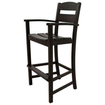 Classics Black Plastic Outdoor Patio Bar Arm Chair