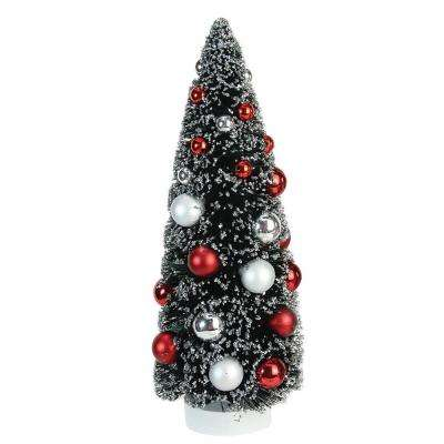 12 in. Frosted Red and Silver Sisal Pine Artificial Christmas Table Top Tree