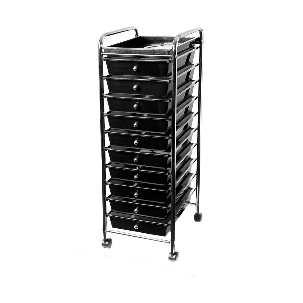Medium 10-Drawer Cart with Organizer Top Black