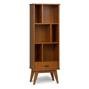 Draper Solid Hardwood 64 in. x 22 in. Mid Century Modern Bookcase and Storage Unit in Teak Brown