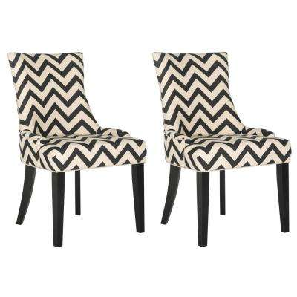 Lester Black/White/Espresso 19 in. H Chevron Dining Chair (Set of 2)