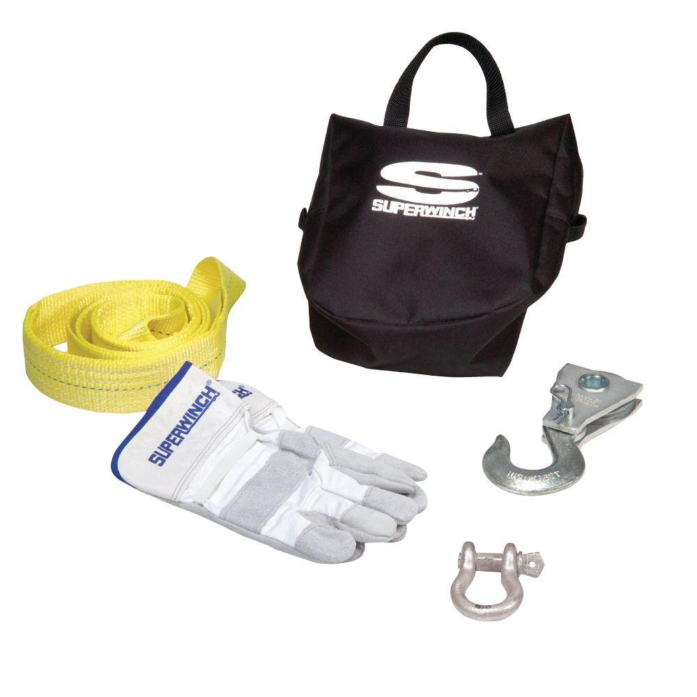 ATV Winch Accessory Kit with 8, 000 lb. Pulley Block,  Bow Shackle,  Nylon Tree Saver Strap,  Gloves and Carry Bag