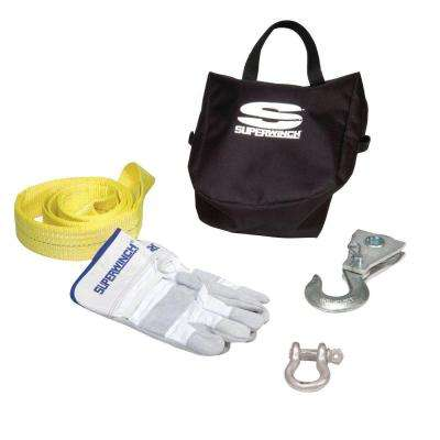ATV Winch Accessory Kit with 8,000 lb. Pulley Block, Bow Shackle, Nylon Tree Saver Strap, Gloves and Carry Bag