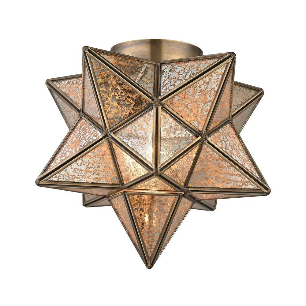 An Lighting Moravian Gold Star Flush Mount