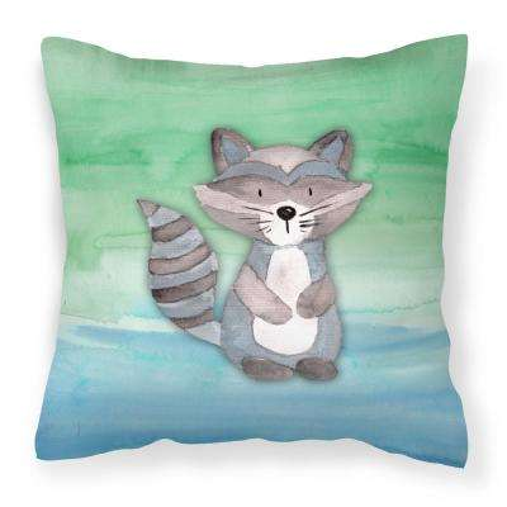 14 in. x 14 in. Multi-Color Lumbar Outdoor Throw Pillow Raccoon Watercolor