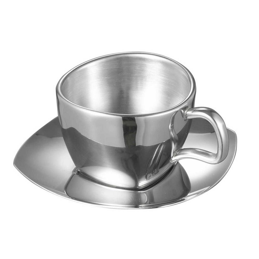 visol misto stainless steel double wall cup with saucer set of 2