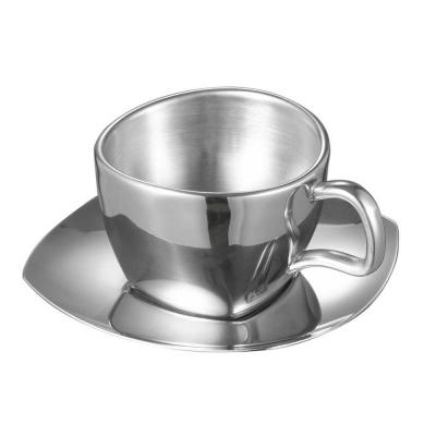 Misto Stainless Steel Double Wall Cup with Saucer (Set of 2)