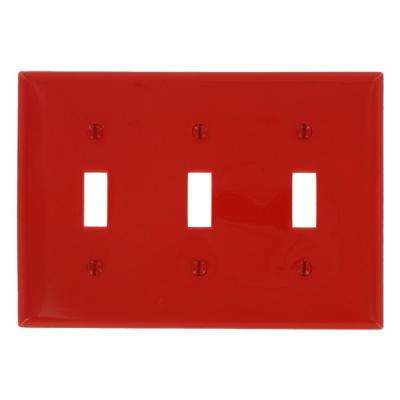 3-Gang 3-Toggles Standard Size Heavy Duty Nylon Wall Plate, Red