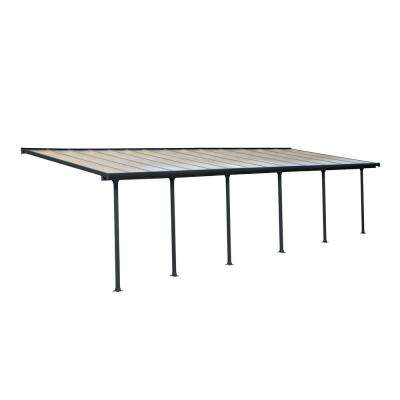 Feria 10 ft. x 28 ft. Grey Patio Cover Awning