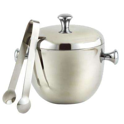 Stainless Steel Double Wall 2QT Apple Shape Ice Bucket with Tongs