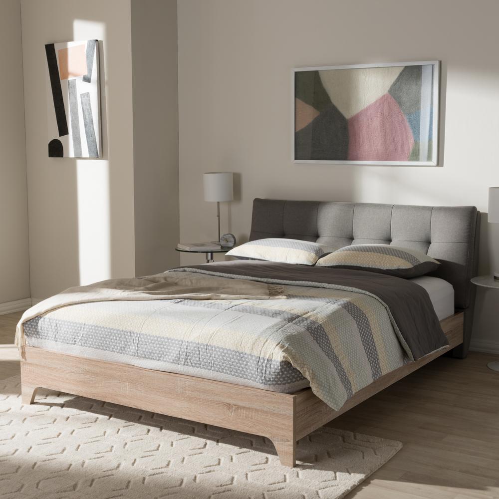 Baxton Studio Adelia Mid-Century Gray Fabric Upholstered Full Size Bed