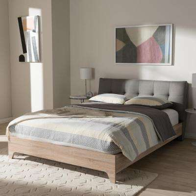 Adelia Mid-Century Gray Fabric Upholstered Queen Size Bed