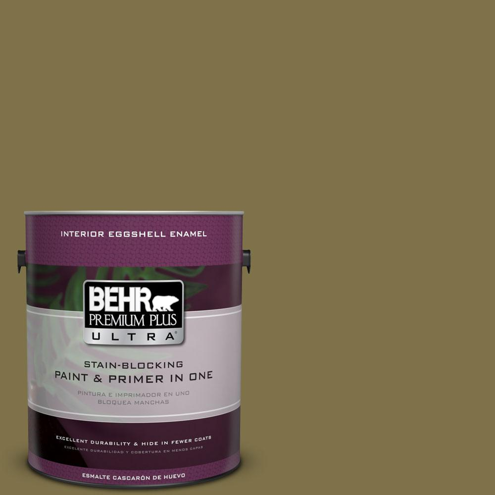 BEHR Premium Plus Ultra 1-gal. #S330-7 Olive Shade Eggshell Enamel Interior Paint