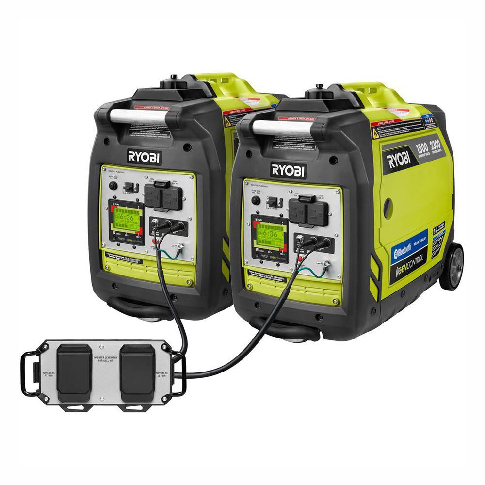 Bluetooth 2,300 Starting Watt Super Quiet Gasoline Powered Digital Inverter Generator with Parallel Combo Kit