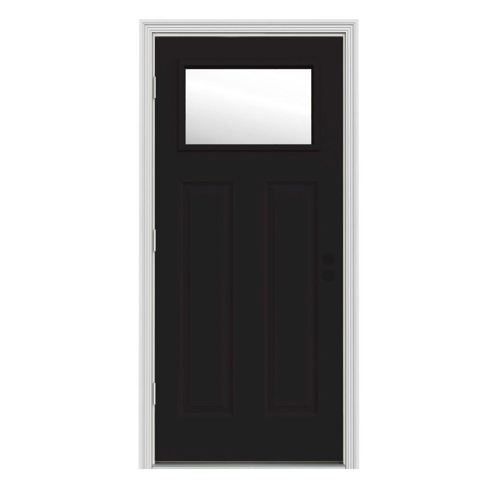 Jeld Wen 34 In X 80 In 1 Lite Craftsman Black Painted Steel Prehung Right Hand Outswing Front
