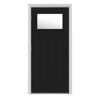 34 in. x 80 in. 1 Lite Craftsman Black Painted Steel Prehung Right-Hand Outswing Front Door w/Brickmould