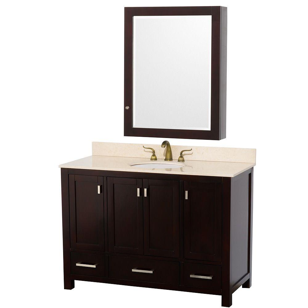 Wyndham Collection Abingdon 49 in. Vanity in Espresso with Marble Vanity Top in Ivory and Medicine Cabinet-DISCONTINUED