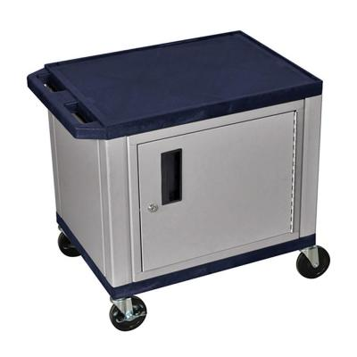 WT 26 in. A/V Cart with Nickel ColoRed Cabinet, Navy Shelves