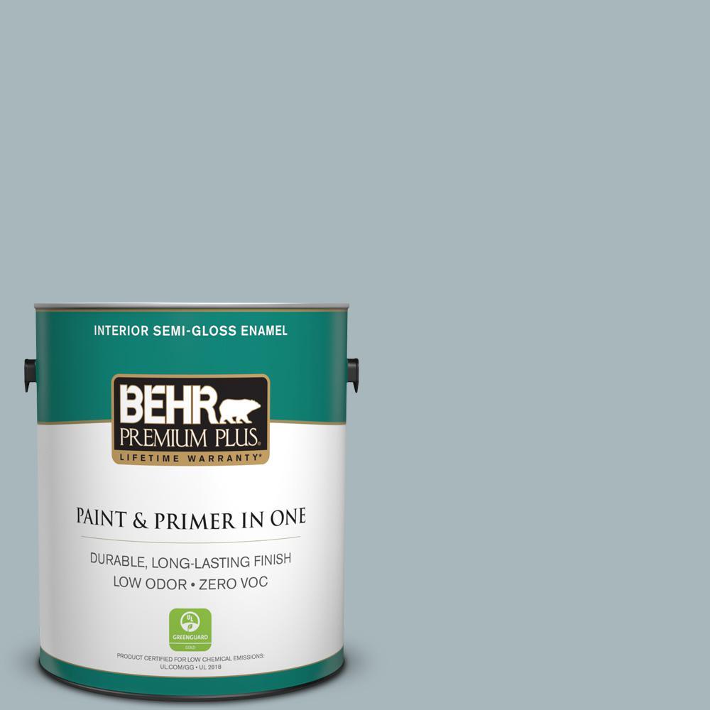 1-gal. #N470-3 Half Sea Fog Semi-Gloss Enamel Interior Paint