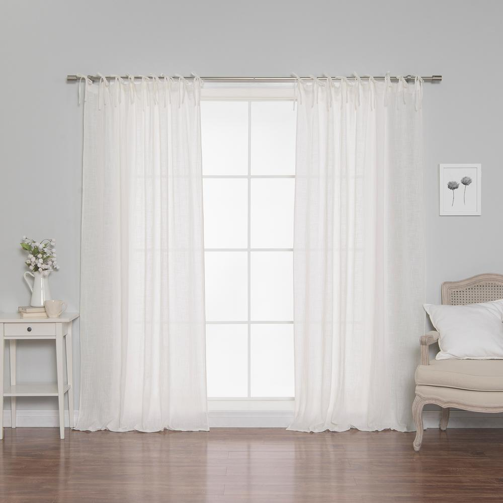 Best Home Fashion 84 in. L Cotton Gauze Curtains in White (2-Pack
