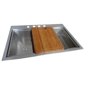 Glacier Bay Dual Mount Stainless Steel 33 inch 4-Hole Single Bowl Kitchen Sink in Satin by Glacier Bay