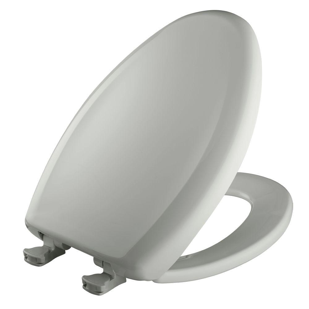 Slow Close STA-TITE Elongated Closed Front Toilet Seat in Ice Gray