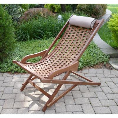 Folding Eucalyptus Swing Outdoor Lounge Chair with Head Pillow