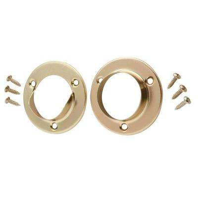 1-3/8 in. Satin Brass Metal Pole Sockets (2-Pack)