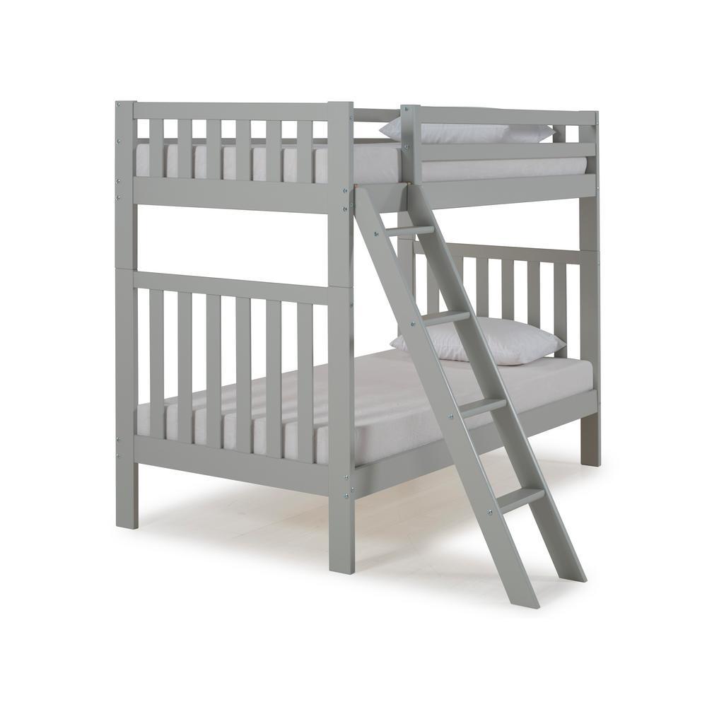 Aurora Dove Gray Twin Over Twin Bunk Bed