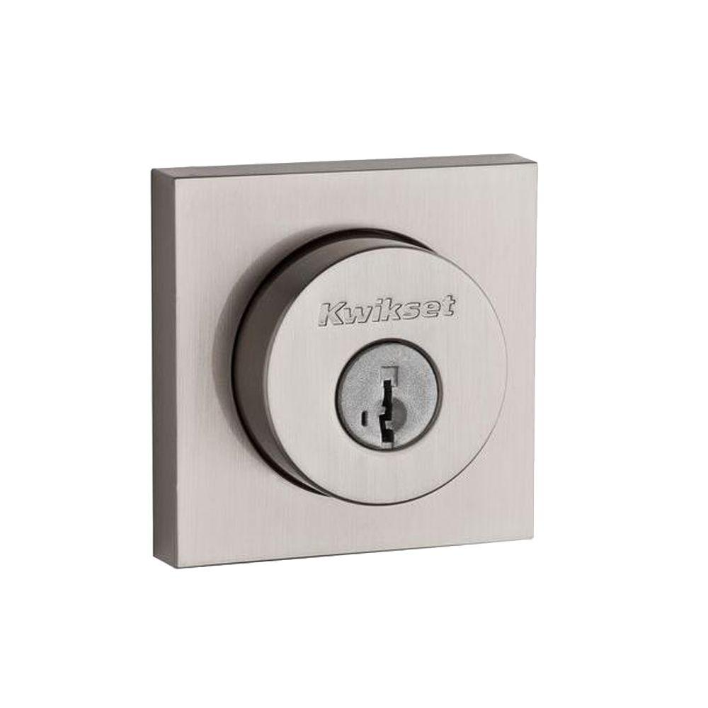 159 Series Square Contemporary Double Cylinder Satin Nickel Deadbolt featuring