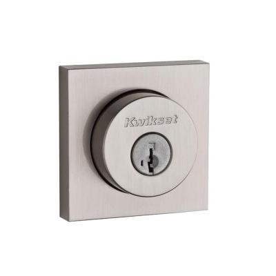 159 Series Square Contemporary Satin Nickel Double Cylinder Deadbolt Featuring SmartKey Security